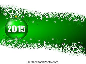 2015, año nuevo, ilustración, con, pelota de navidad