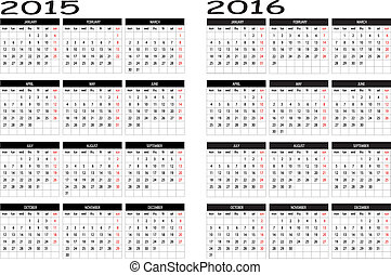 2015 and 2016 calendar - New calendar 2015 and 2016 in...
