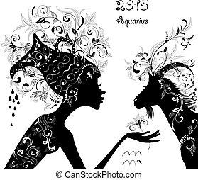 2015, année, de, les, beau, chèvre, et, zodiaque, signe,...