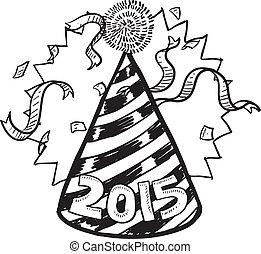 2015, anno nuovo, cappello, festa