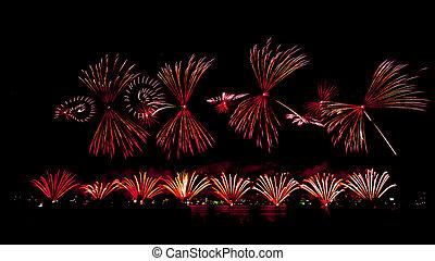2015, australische, feuerwerk, perth, tag