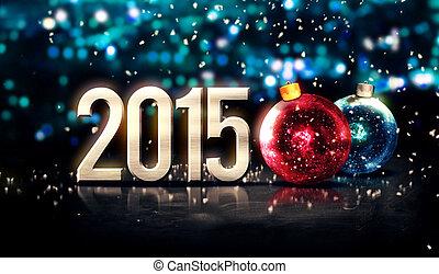 2015, baubles, prata, azul, bonito, bokeh, inverno, 3d