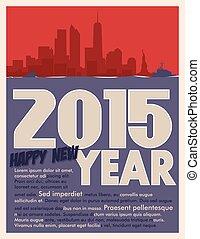 2015, begroetende kaart, jaar