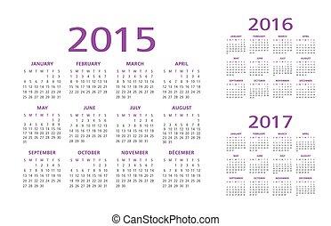 2015, calendário, 2016, 2017, inglês