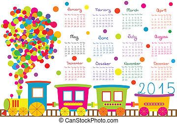 2015, calendário, para, crianças, com, caricatura, trem