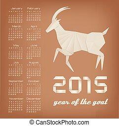 2015, calendar., chêvre, vector., jaar