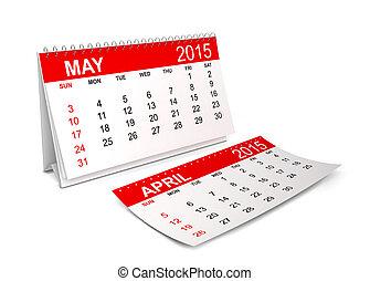 2015, calendar., mai
