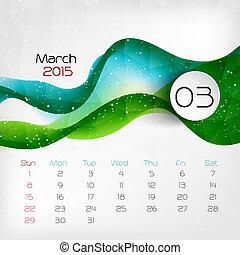 2015, calendar., march., vector, illustratie