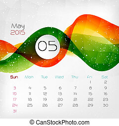 2015, calendar., may., vector, illustratie