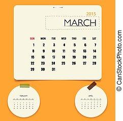 2015 calendar, monthly calendar template for March. Vector...