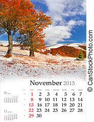 2015 Calendar. November. Beautiful autumn landscape in the mount