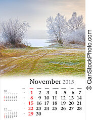 2015 Calendar. November. Beautiful autumn landscape on the lake