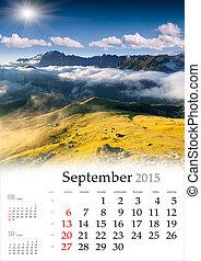 2015 Calendar. September. Beautiful autumn landscape in the moun