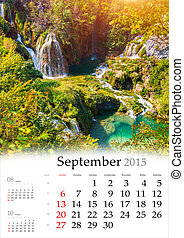 2015 Calendar. September. Beautiful autumn landscape with waterf