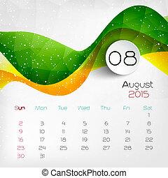 2015, calendar., vector, illustratie, august.
