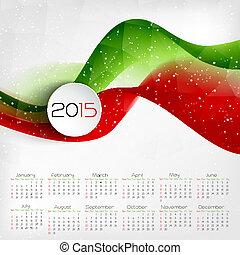 2015, calendar., vector, illustratie