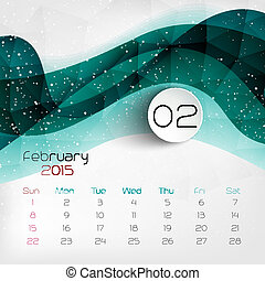 2015, calendar., vector, illustratie, february.
