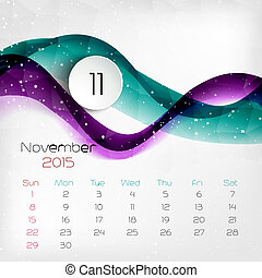 2015, calendar., vector, illustratie, november.