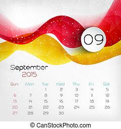 2015, calendar., vector, illustratie, september.