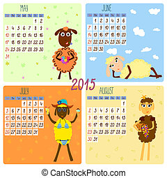 2015 calendar with funny sheep. Summer