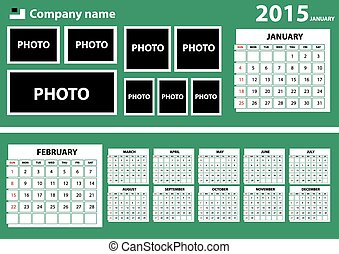 2015 Calendar with green background