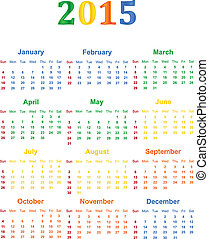 2015 Calendar With Season Specific Colors Vector...