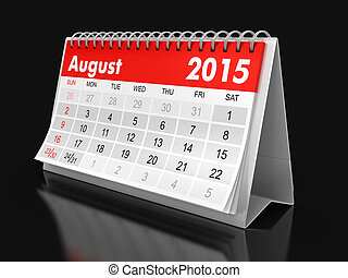 2015, calendario, -, agosto