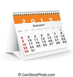 2015, calendario, agosto, escritorio