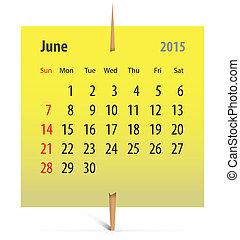 2015, calendario, junio