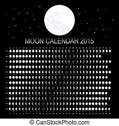 2015, calendario, luna