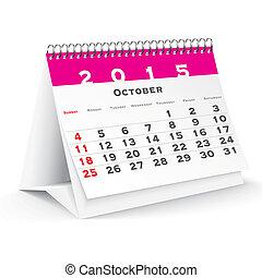 2015, calendario, octubre, escritorio