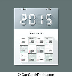 2015, calendario, papel, número, digital