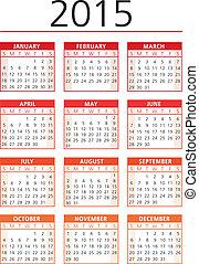 2015, calendario, vector