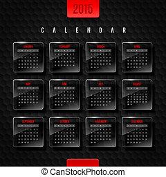 2015, calendario, vector, plantilla