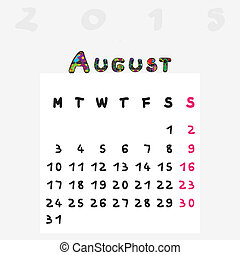 2015, calendrier, août