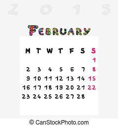 2015, calendrier, février