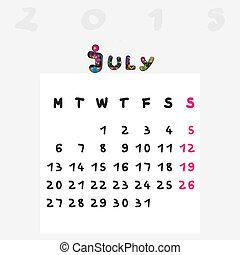 2015, calendrier, juillet