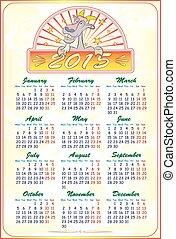 2015, chèvre, vecteur, calendrier, illustration