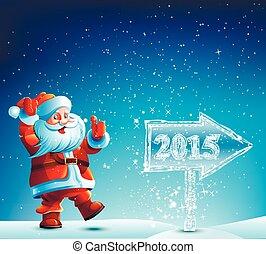 2015, claus, santa, camminare