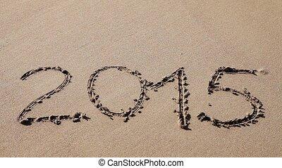 2015, dessiné, sable, signe