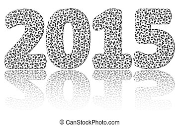 2015 digits composed many soccer balls on glossy white background