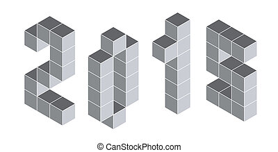 2015 digits from isometric cubes. Pseudo three dimensional -...