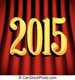 2015, doré, signe, rideaux