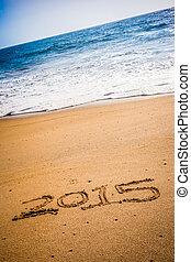 2015, escrito, em, a, areia, ligado, um, praia