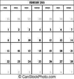 2015, febrero, planificador, transparente, plano de fondo