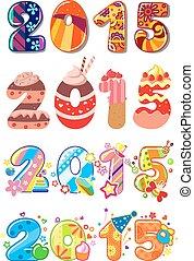 2015, feestje, kinderen, getallen