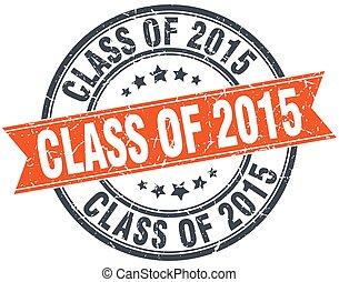 2015, francobollo, vendemmia, isolato, classe, arancia, grungy, rotondo