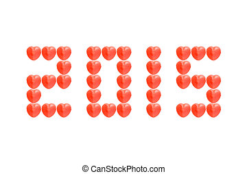 2015 from red heart candy isolated on white background