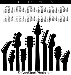 2015, guitarra, música, calendario