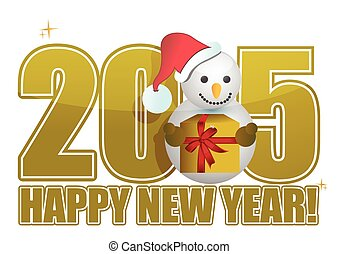 2015 happy new year snowman sign